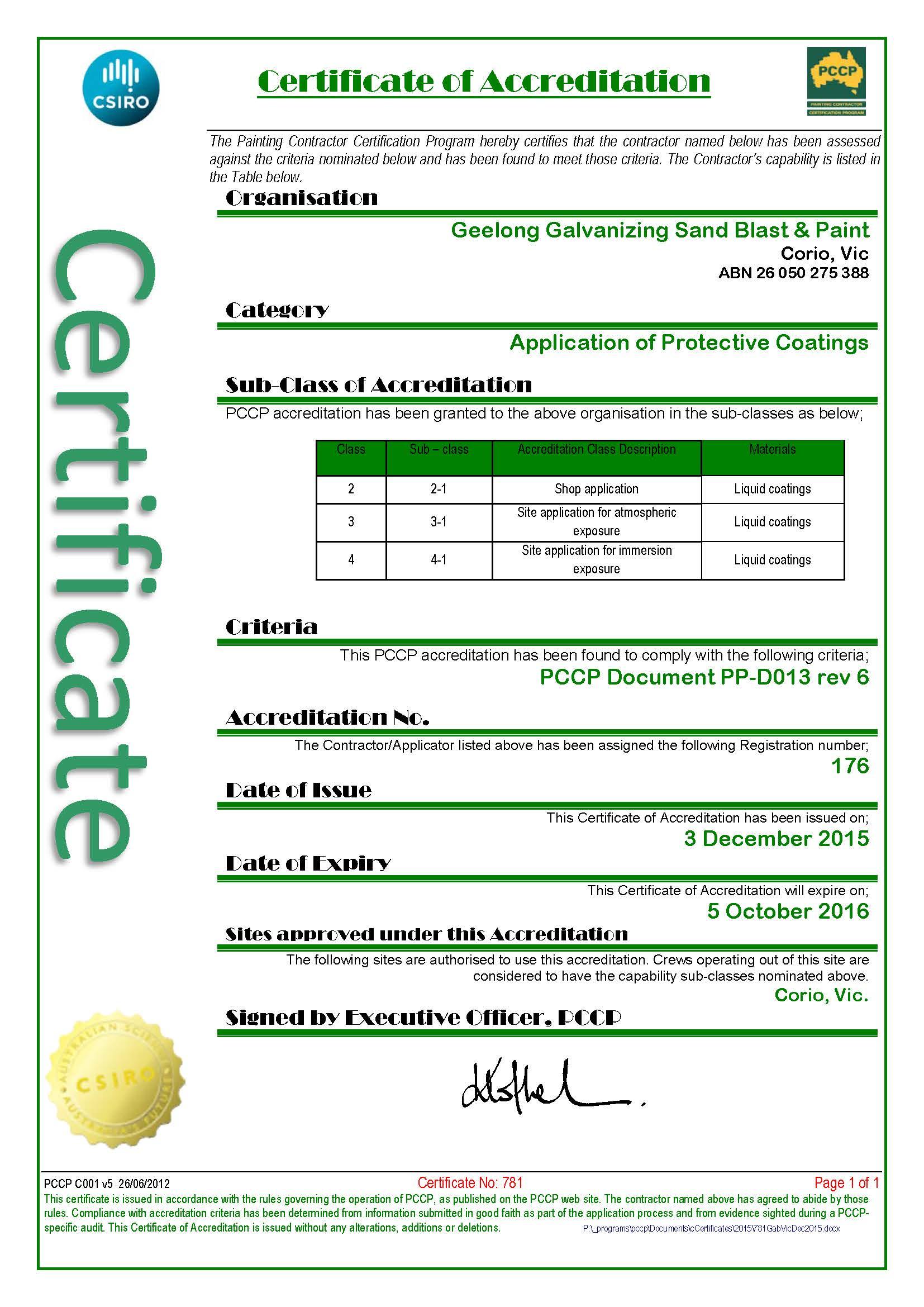 PCCP Certificate